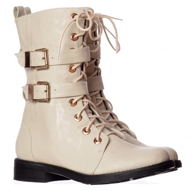 Onlineshoe Military Biker Ankle Boot - Lace Up and Double Buckle - Off White PU