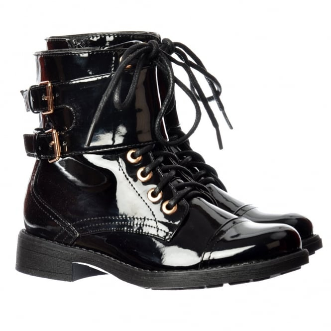 Onlineshoe Military Biker Short Ankle Boot - Lace Up and Double Buckle - Black Patent, Black PU