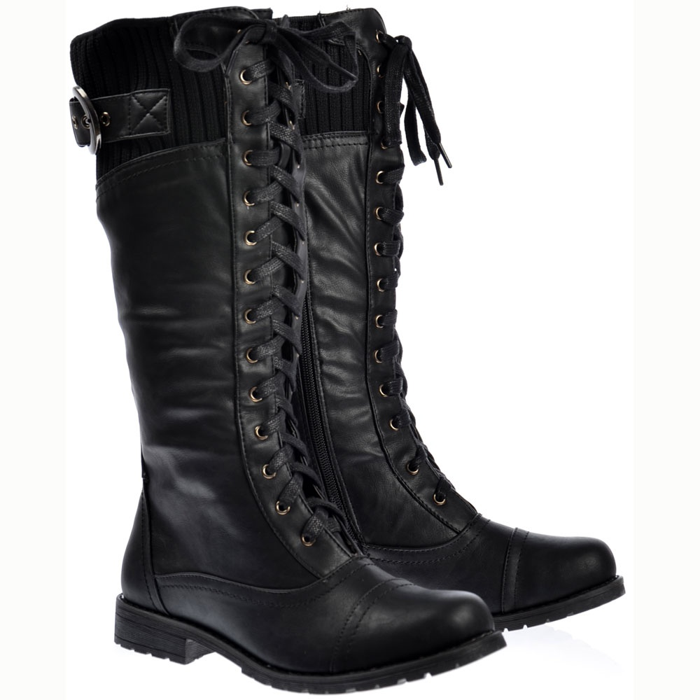 los angeles online shop sports shoes Onlineshoe Military Extra Wide Calf Winter Boots - Black - WOMENS ...
