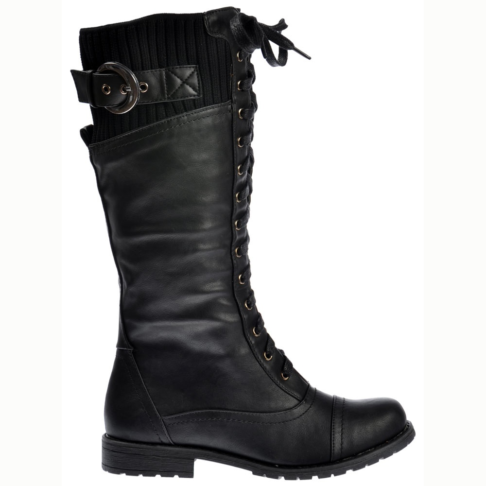 575c38467225 Onlineshoe Military Extra Wide Calf Winter Boots - Black - WOMENS ...