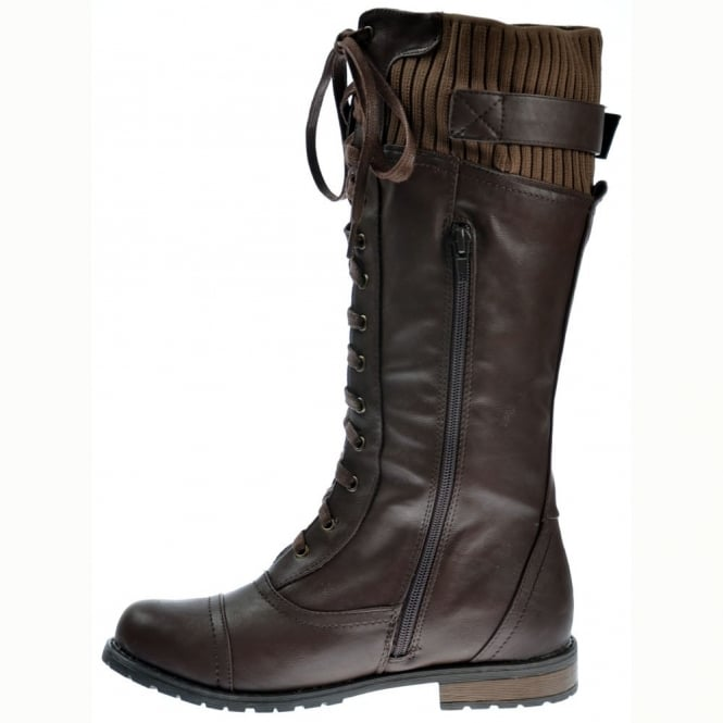 f9ed48582209 Onlineshoe Military Extra Wide Calf Winter Boots - Brown - WOMENS ...
