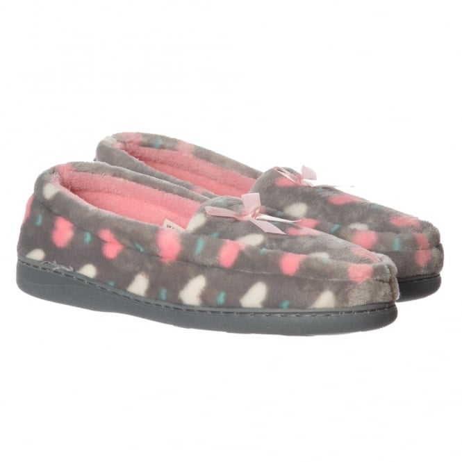 Onlineshoe Moccasin Warm Slipper With Hard Wearing Sole - Grey, Pink