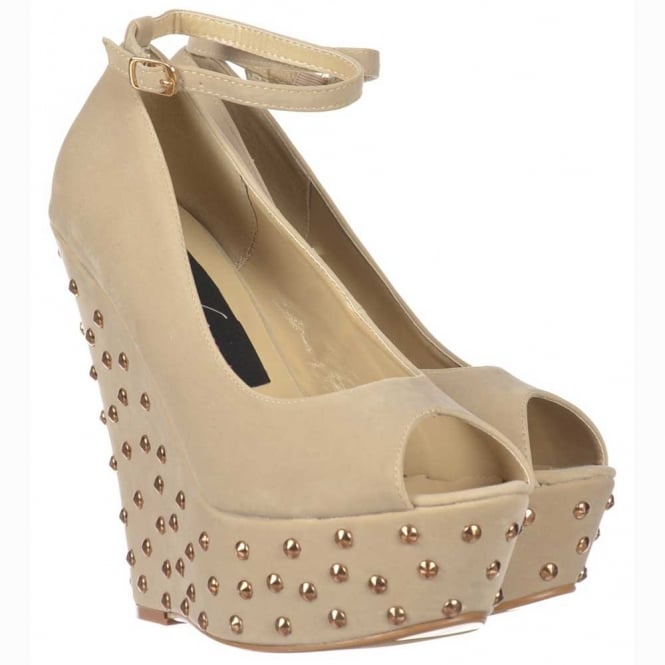 Onlineshoe Nude / Beige Studded Suede Wedge Peep Toe Platform Shoes Ankle Strap - Nude / Beige Studded