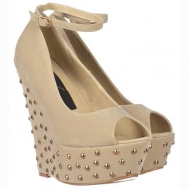 Nude / Beige Studded Suede Wedge Peep Toe Platform Shoes Ankle Strap - Nude / Beige Studded