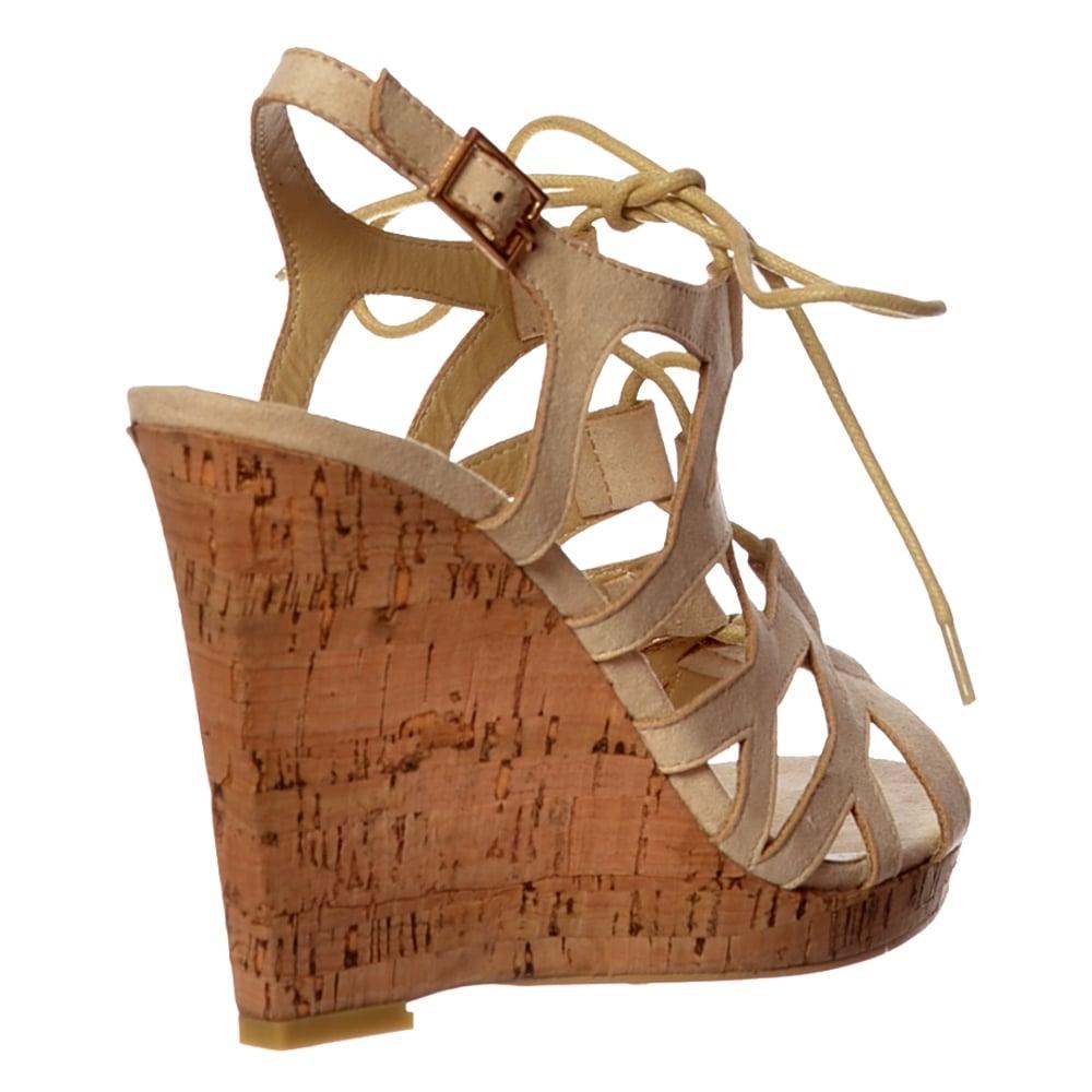 c28444a22c6 Open Toe Gladiator Lace UP Cork Wedge Heel Sandal