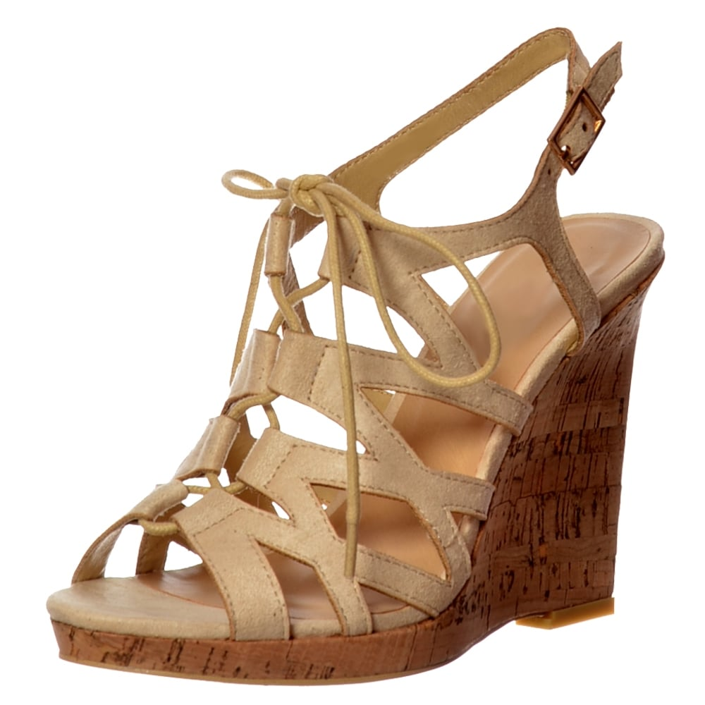 lace up cork sandals