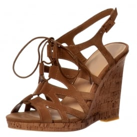 Open Toe Gladiator Lace UP Cork Wedge Heel Sandal