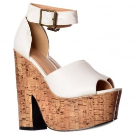 Open Toe Strappy Platform Demi Wedge Party Cork High Heels - Black, White, Tan