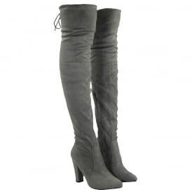Over The Knee Thigh High Block Heel Suede Boot - Black Suede, Grey Suede