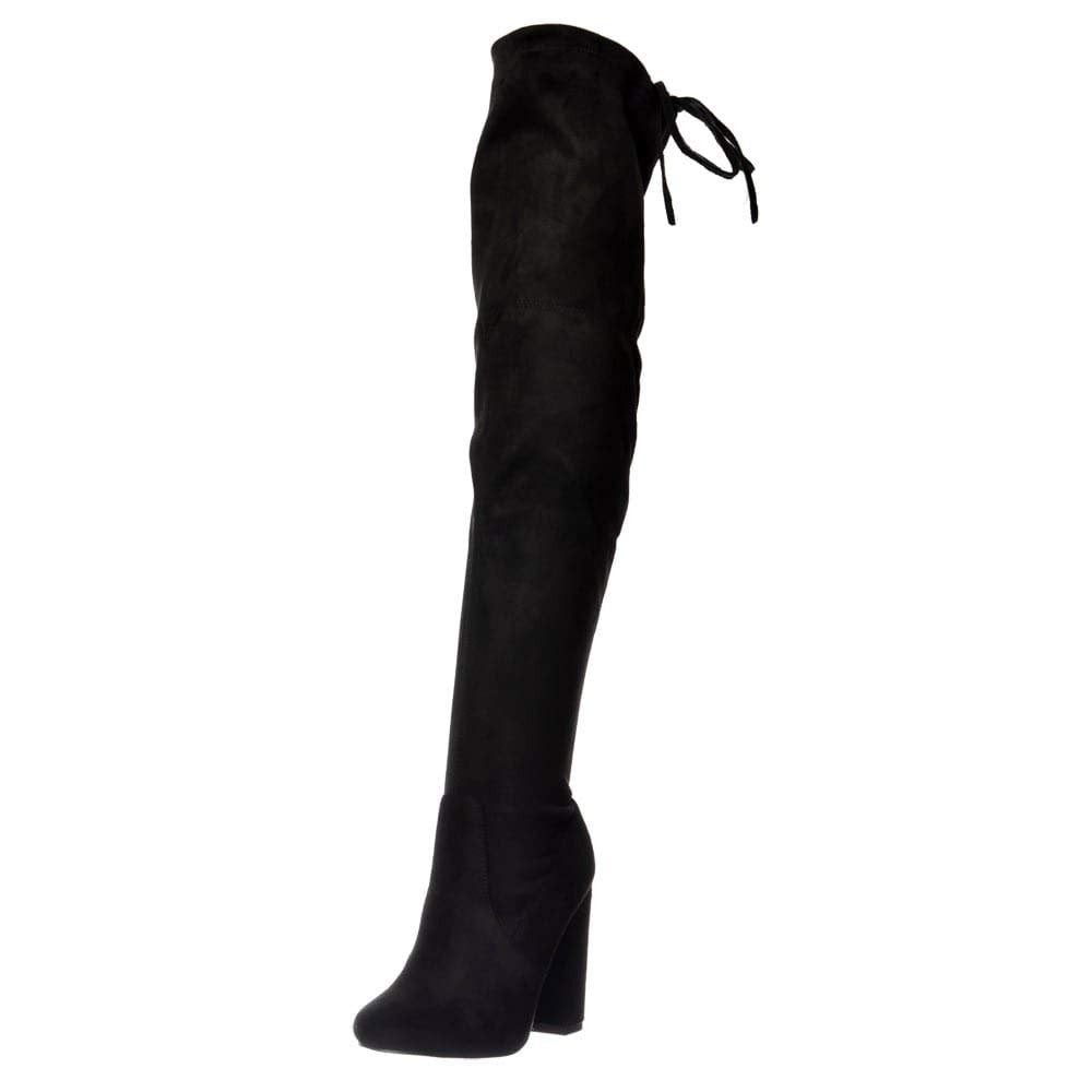 a208356b5f4 Over The Knee Thigh High Block Heel Suede Boot
