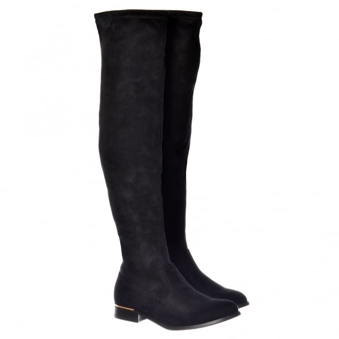 Onlineshoe Over The Knee Thigh High Flat Metal Trim Boot - Black Suede, Grey Suede