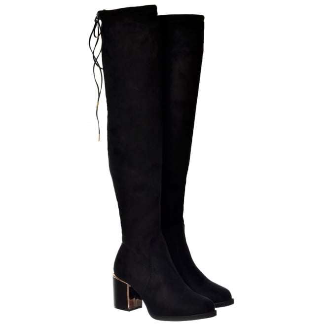 Onlineshoe Over The Knee Thigh High Gold High Heeled Detail Boot - Black Suede