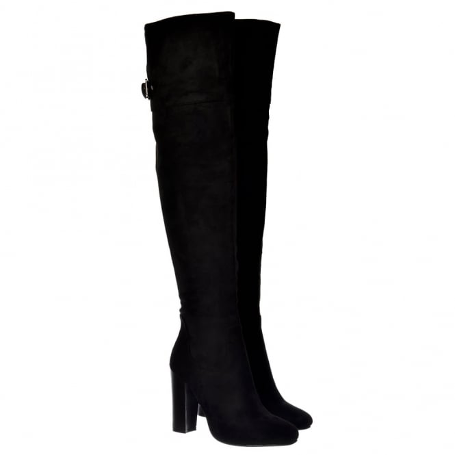 Onlineshoe Over The Knee Thigh High Heeled Boot - Black Suede