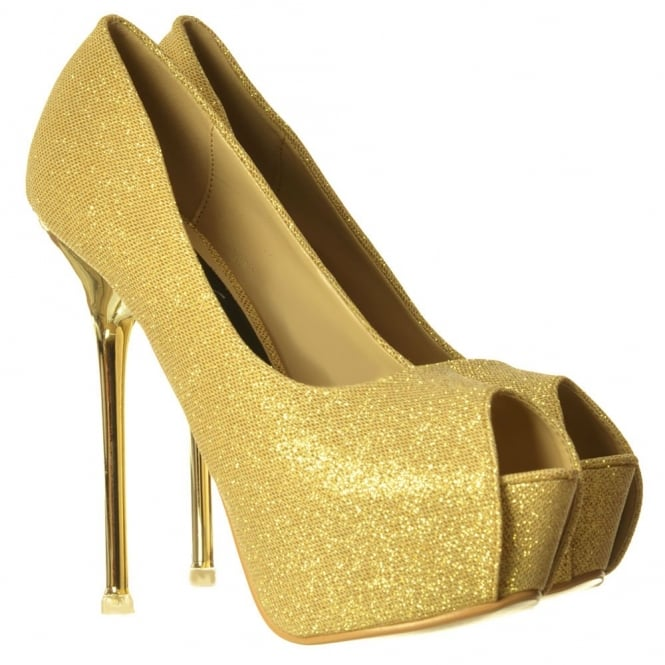 Onlineshoe Party Heel Glitter Peep Toe Shoes - Gold/Silver Heel Detail - Gold, Silver