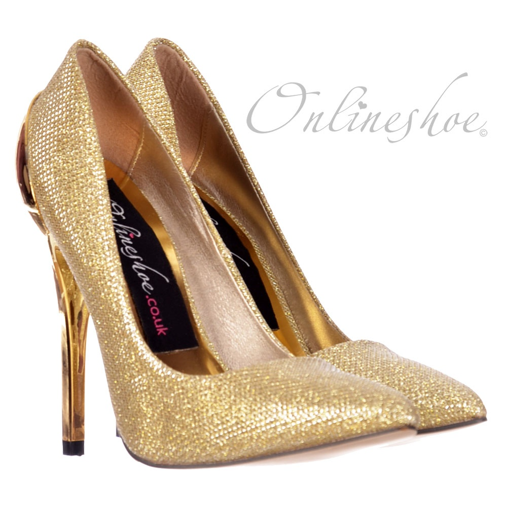 Onlineshoe Party Mid Heel Glitter Court Peep Toe Shoes - Gold