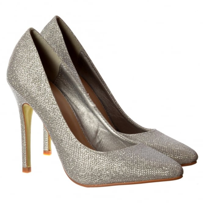 Onlineshoe Party Mid Heel Pointed Toe Glitter Court Shoes - Silver Mesh, Black Mesh