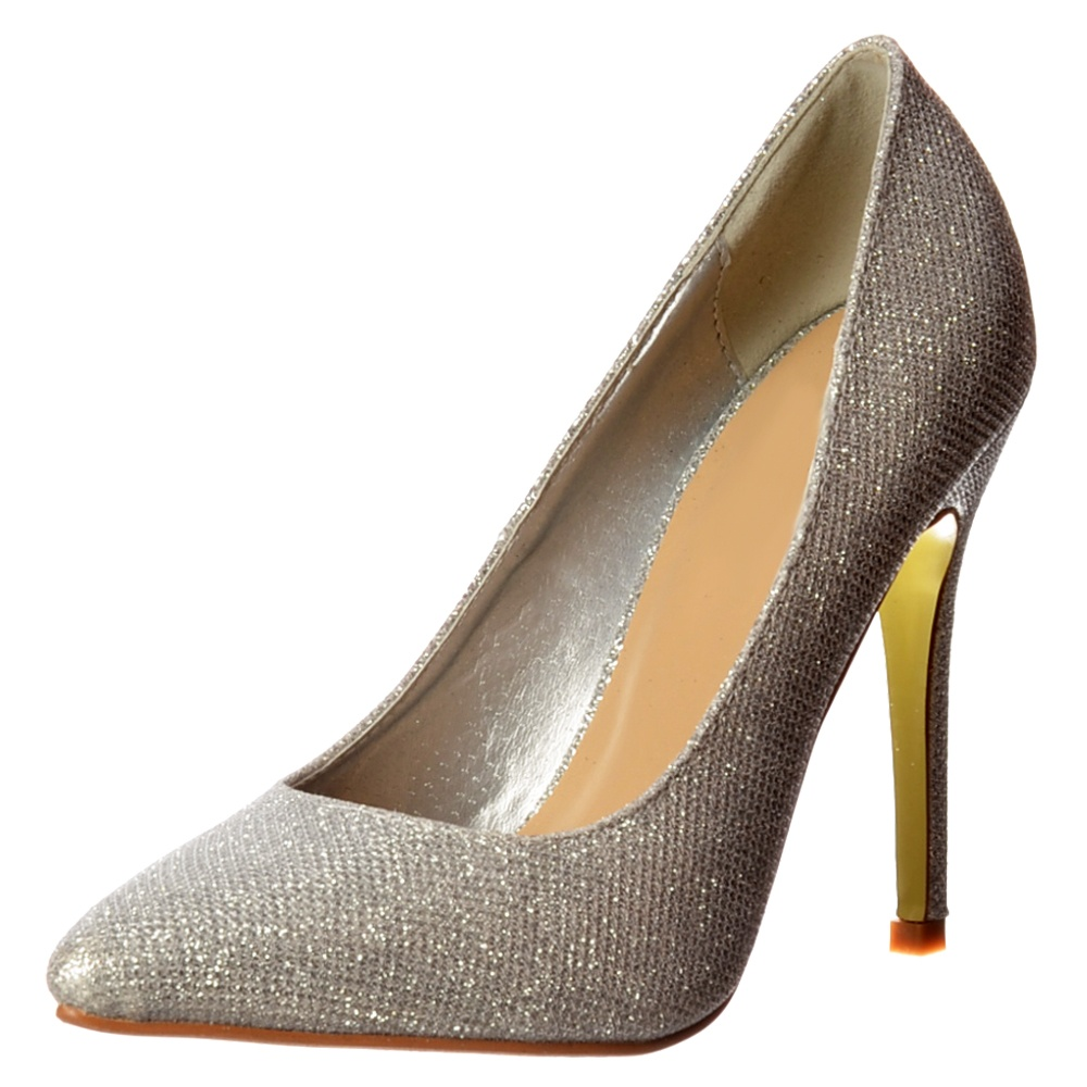 05ad99b5f40 Onlineshoe Party Mid Heel Pointed Toe Glitter Court Shoes - Silver ...