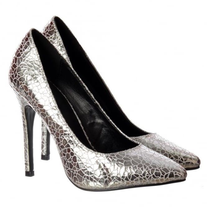 Onlineshoe Party Mid Heel Pointed Toe Glitter Court Shoes - Silver