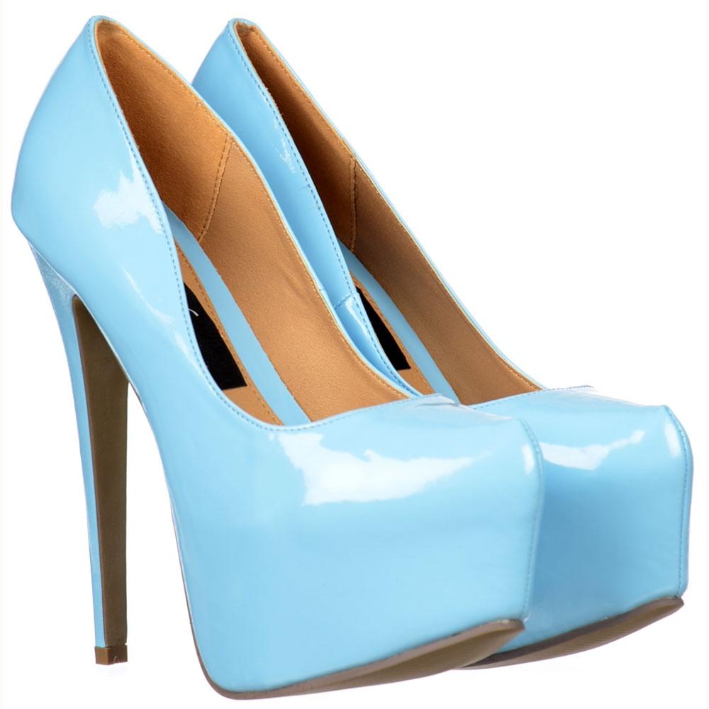 Onlineshoe Pastel Blue High Heeled Stiletto - Concealed Platform ...