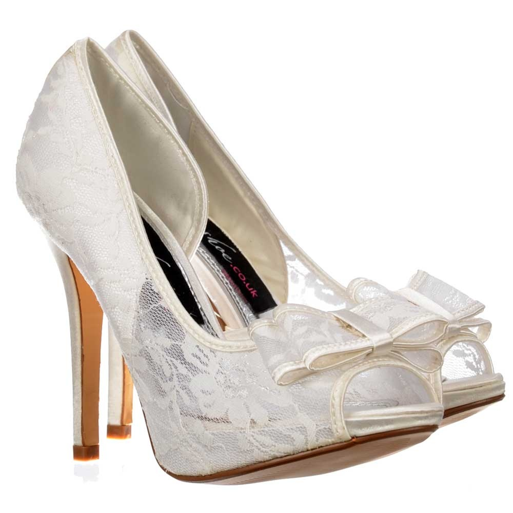 Ivory Lace Court Shoes