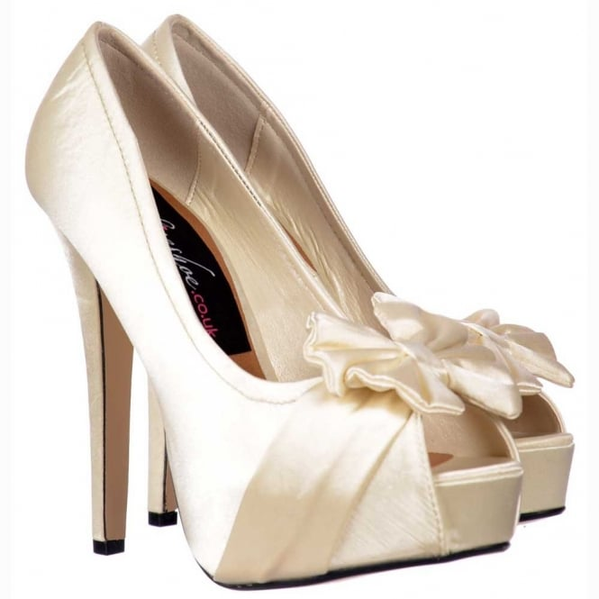 Onlineshoe Peep Toe Bridal Wedding Shoes - Satin Bow - Ivory Satin
