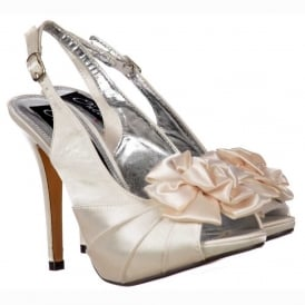 Peep Toe Bridal Wedding Shoes - Slingback With Flower - Ivory Satin