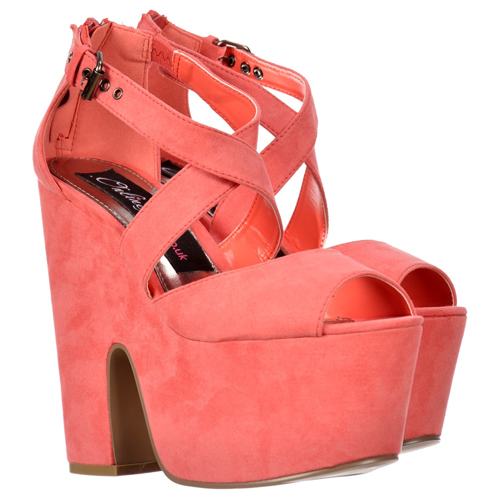 7ec78c070d7 Peep Toe Demi Wedge Block Heels - Cross Over Strappy Summer Sandals - Coral  Suede
