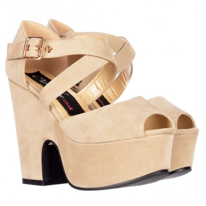 Onlineshoe Peep Toe Demi Wedge Block Heels - Cross Over Strappy Summer Sandals