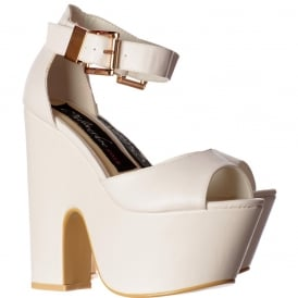 Peep Toe Demi Wedge Party High Heels - Buckled Ankle Strap - Black Suede, Fuchsia Suede, White PU