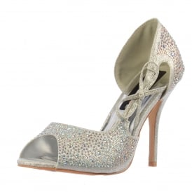 Peep Toe Diamante Party Heel With Bow