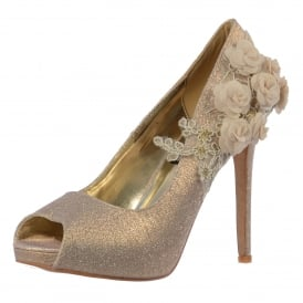 Peep Toe Glitter Party Heel - Lace Flower Detail
