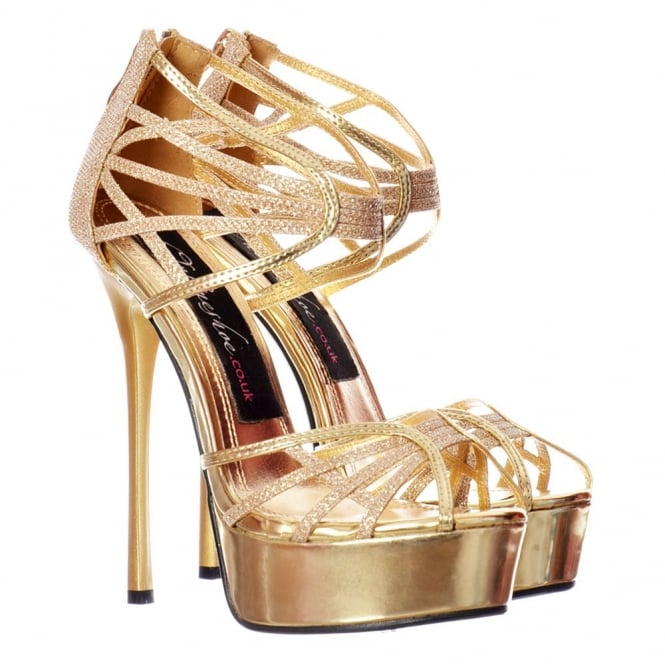 Onlineshoe Peep Toe Glitter Platform - Strappy Gladiator Party Shoe - Gold, Silver, Black