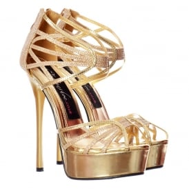 Peep Toe Glitter Platform - Strappy Gladiator Party Shoe - Gold, Silver, Black