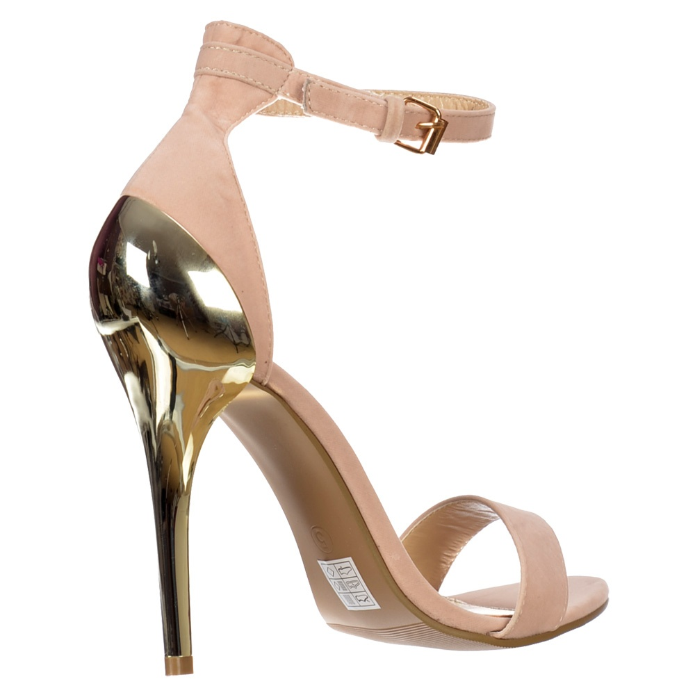 Onlineshoe Peep Toe High Back Mid Heels - Gold Heel Strappy ...