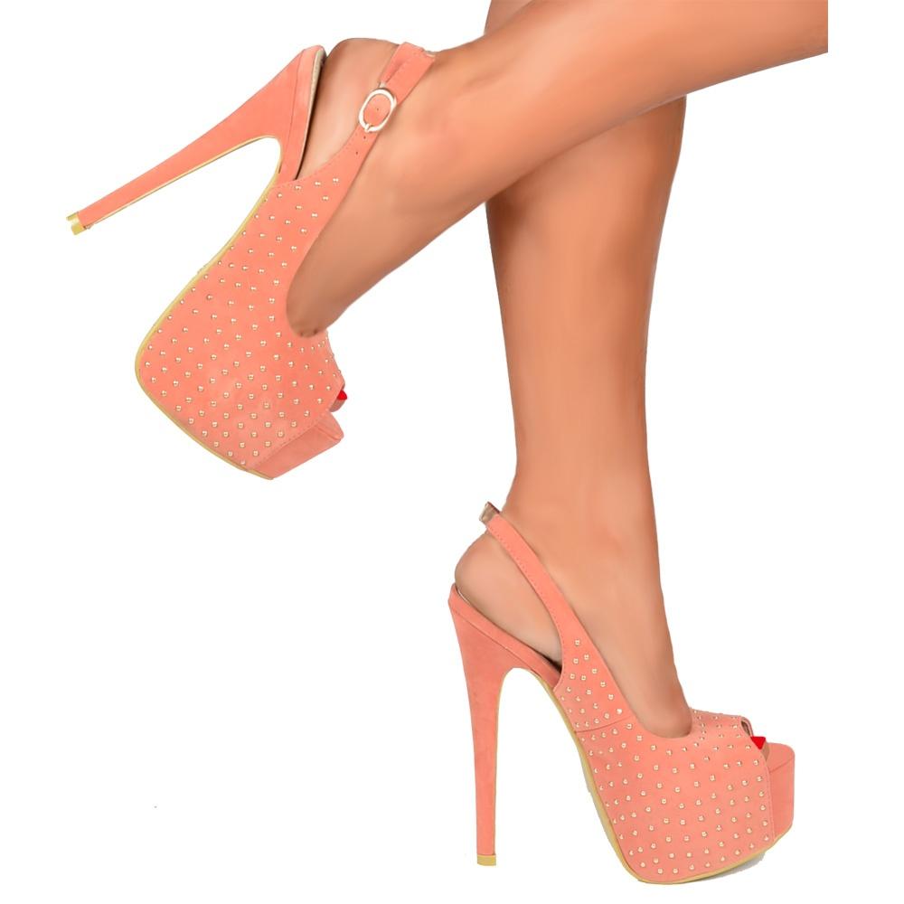 008ae84d70a Peep Toe High Heels - Studded Slingback Stilettos - Coral Suede
