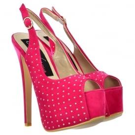f5075ab5c3 Peep Toe High Heels - Studded Slingback Stilettos - Fuchsia Pink Suede