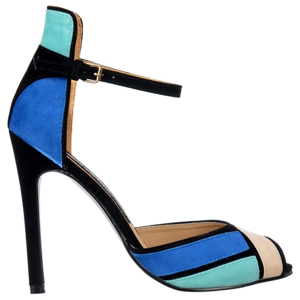 Black sandals mid heel uk - Peep Toe Mid Heels High Back Strappy Sandals Blue Turquoise Cream Black Suede