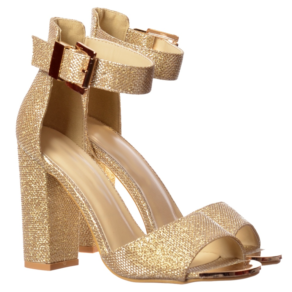 89514d59ef1 Peep Toe Mid Heels - High Back Strappy Sandals Buckled Ankle Cuff - Silver,  Gold