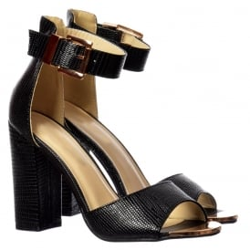 Peep Toe Mid Heels - High Back Strappy Sandals Buckled Ankle Cuff - Silver, Gold, Red, Black