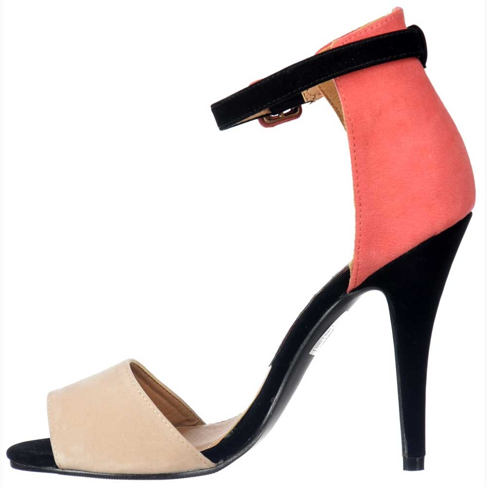 81a334132b04b Peep Toe Mid Heels - High Back Strappy Sandals - Coral Nude Black Suede