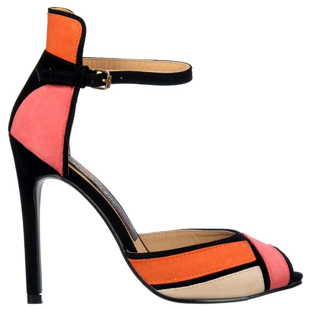 Onlineshoe Peep Toe Mid Heels - High Back Strappy Sandals - Coral ...