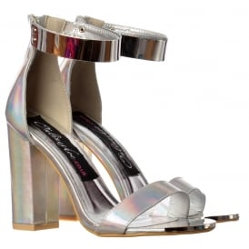 Peep Toe Mid Heels - High Back Strappy Sandals Gold Ankle Cuff - Black, White, Orange, Silver