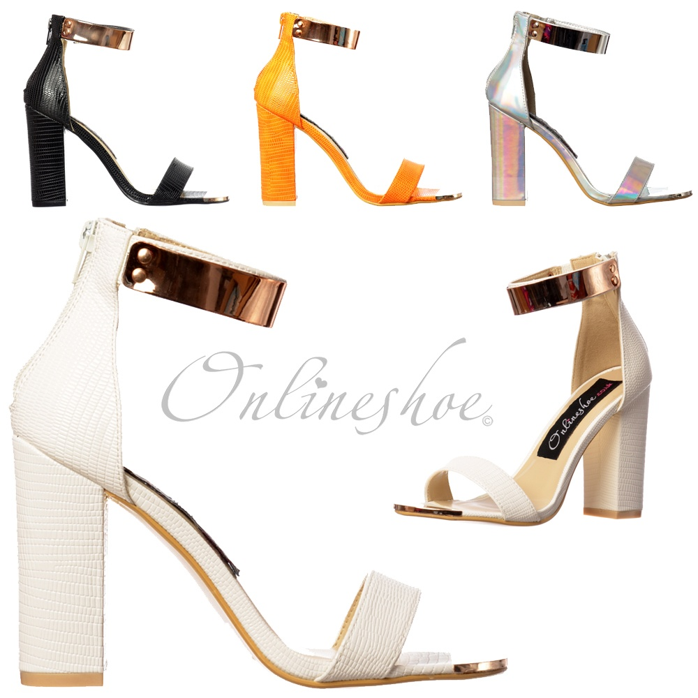914f004c148 Peep Toe Mid Heels - High Back Strappy Sandals Gold Ankle Cuff - Black,  White, Orange, Silver