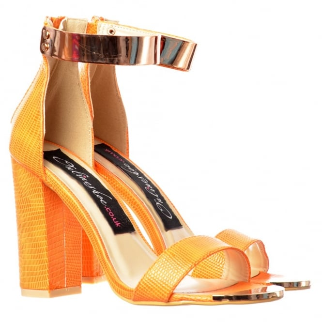Onlineshoe Peep Toe Mid Heels - High Back Strappy Sandals Gold Ankle Cuff - Black, White, Orange, Silver