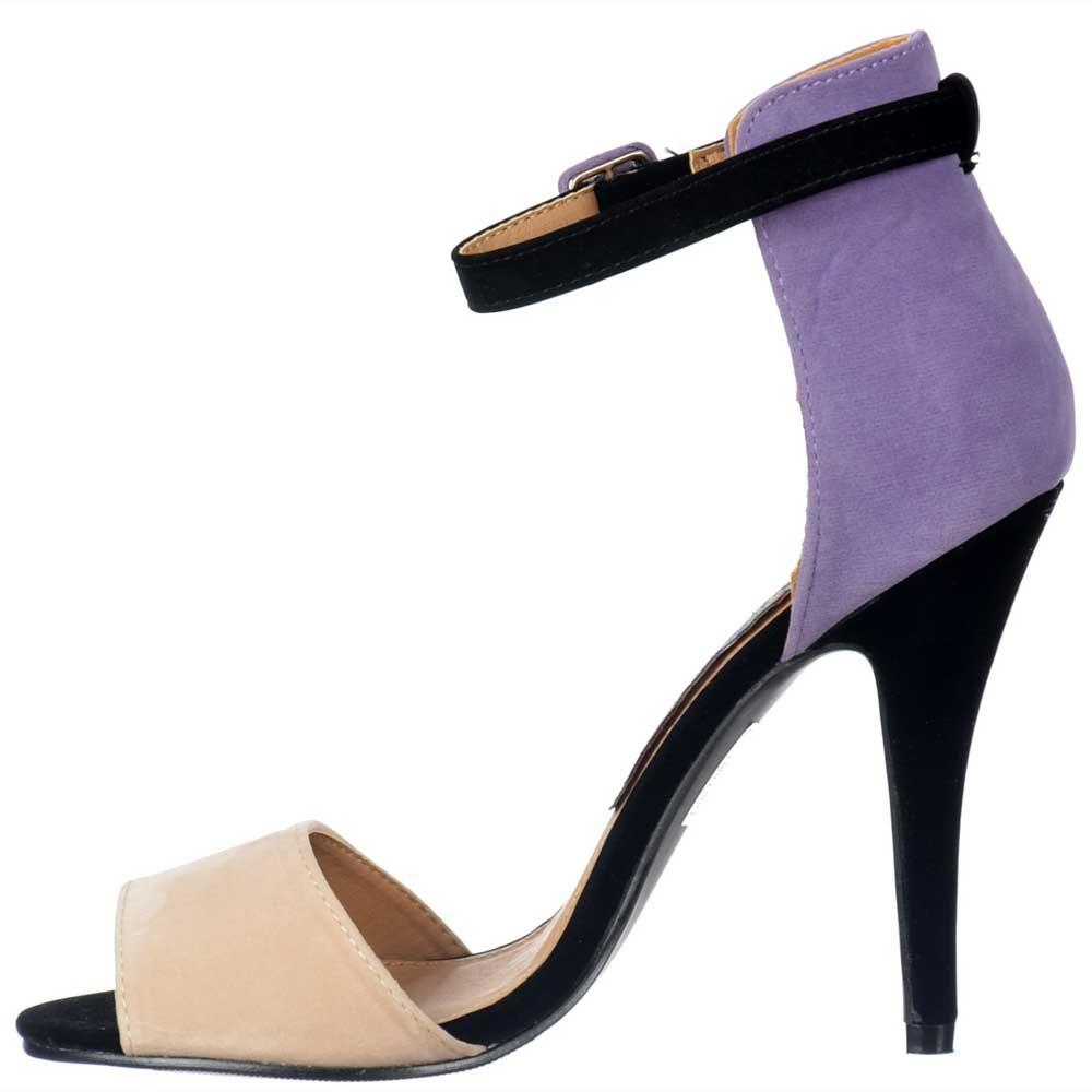 3aa829c4daa3 Peep Toe Mid Heels - High Back Strappy Sandals - Lilac Nude Black Suede