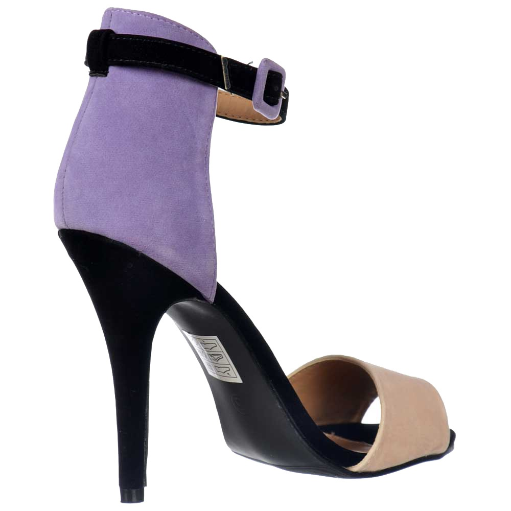 31fd3c74e Peep Toe Mid Heels - High Back Strappy Sandals - Lilac Nude Black Suede