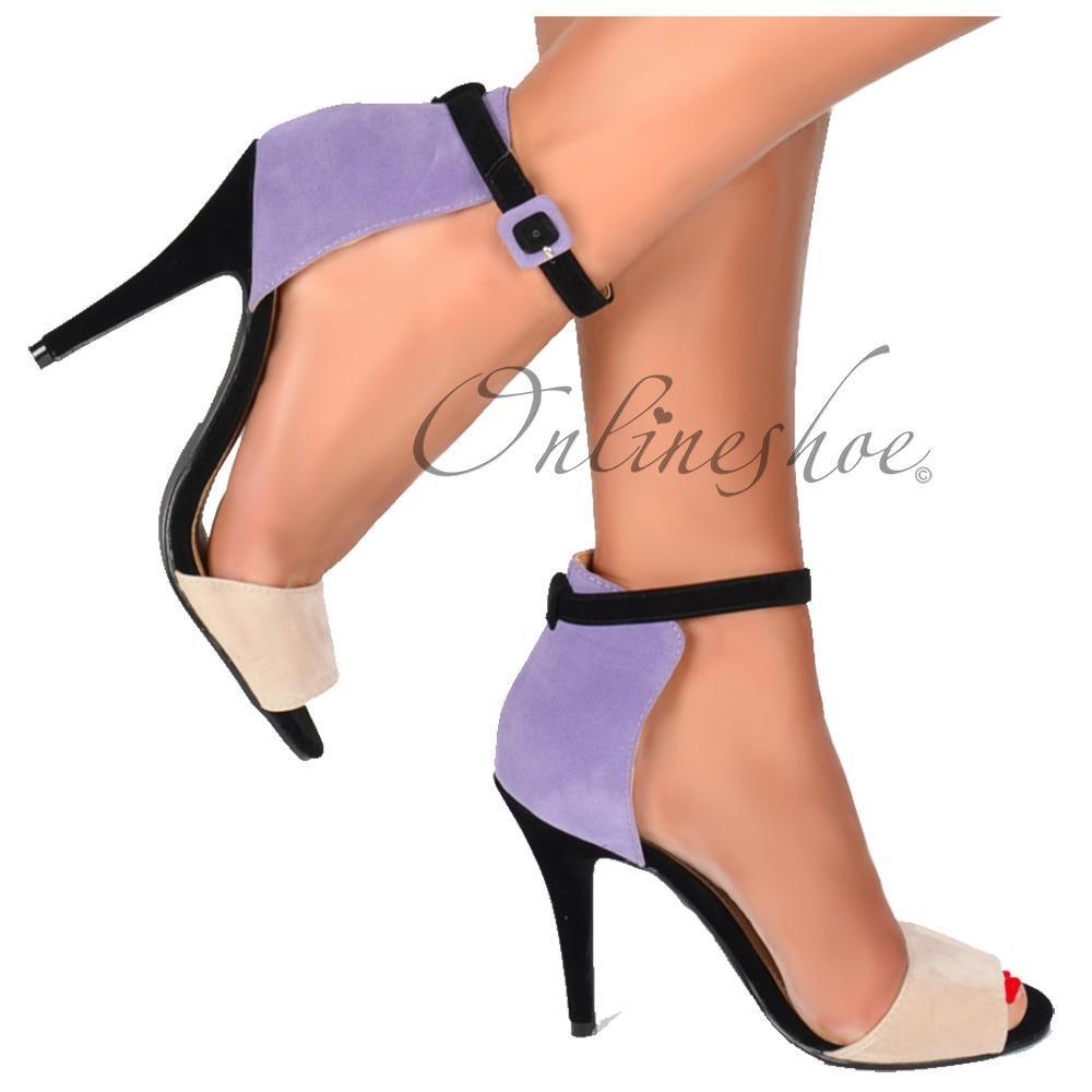 Black sandals mid heel uk - Peep Toe Mid Heels High Back Strappy Sandals Lilac Nude Black Suede