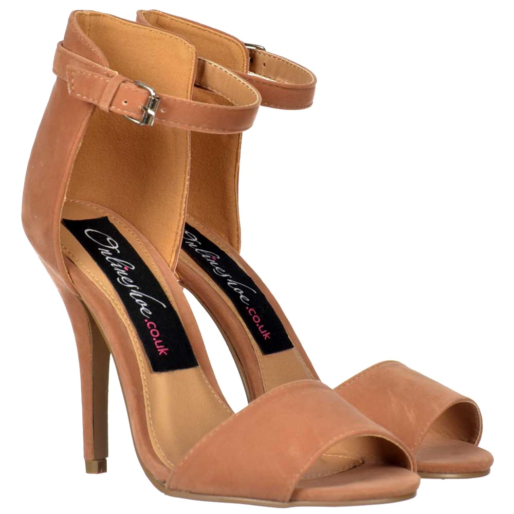 807bc86c9 Onlineshoe Peep Toe Mid Heels - High Back Strappy Sandals - Nude ...