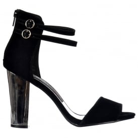 Peep Toe Mid Heels - High Back Strappy Sandals Silver Block Heel - Black Suede