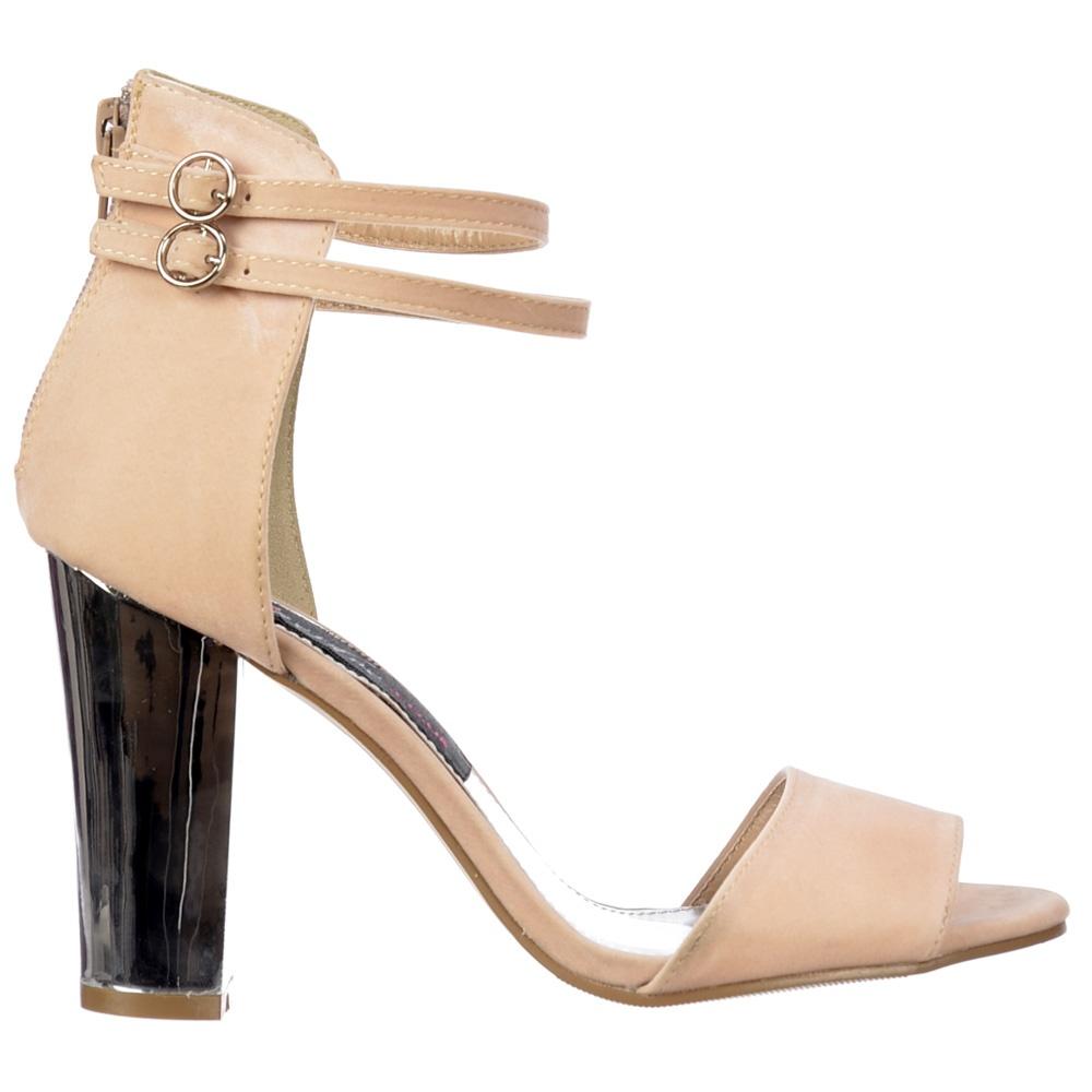 c5c91dd3fbc Peep Toe Mid Heels - High Back Strappy Sandals Silver Block Heel - Cream  Beige Suede